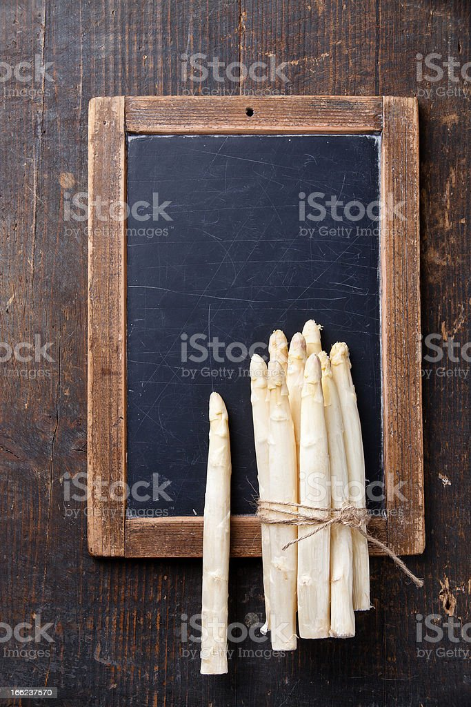 asparagus on vintage slate chalk board royalty-free stock photo