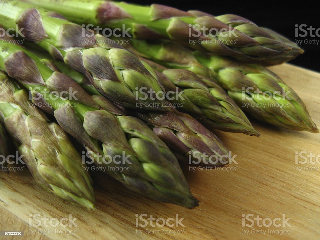 Asparagus on wood royalty-free stock photo