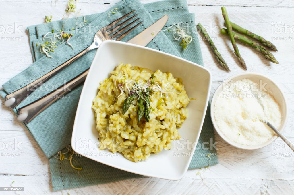 Asparagus risotto top view stock photo