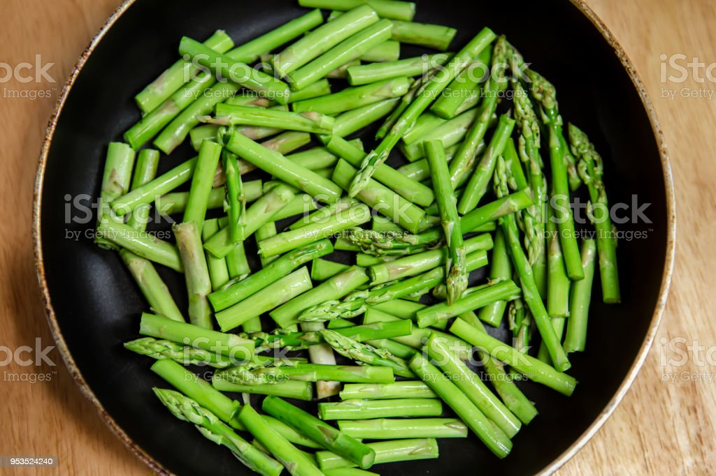 Asparagus, Roasted, Cooked, Food, Food and Drink stock photo