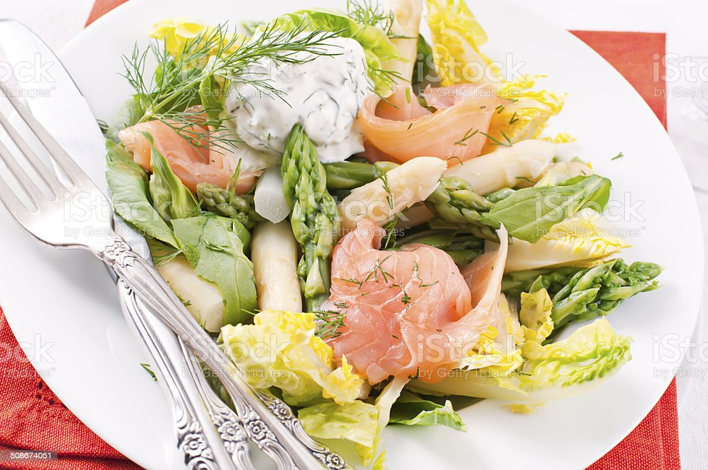 Asparagus Salad with Smoked Salmon royalty-free stock photo