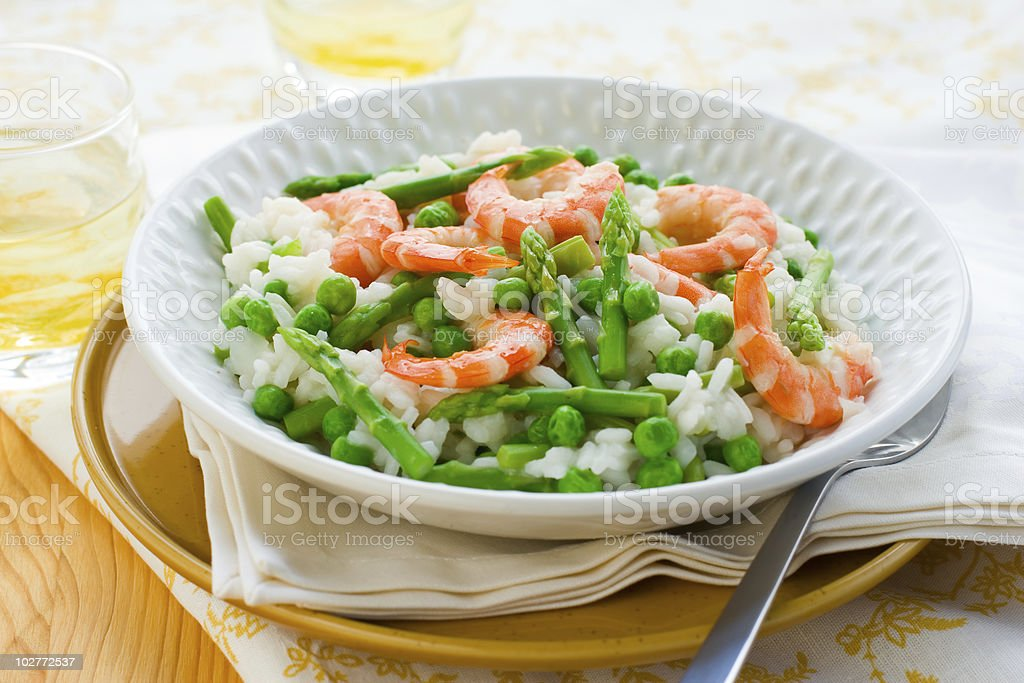 asparagus shrimp risotto royalty-free stock photo