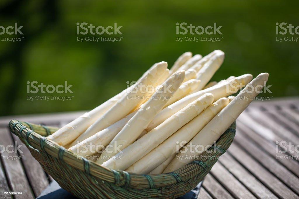 Asparagus, white asparagus in basket, garden in background - Stock image .