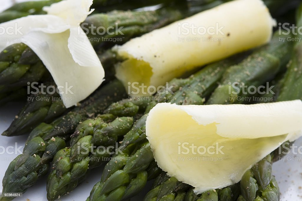 Asparagus with butter royalty-free stock photo