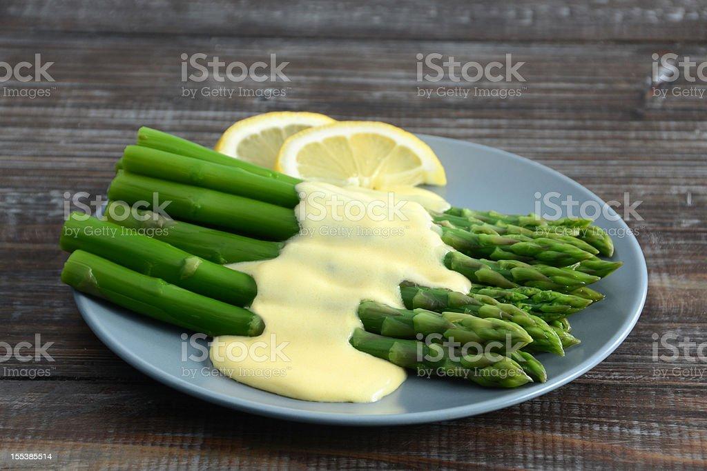 Asparagus with Hollandaise Sauce stock photo