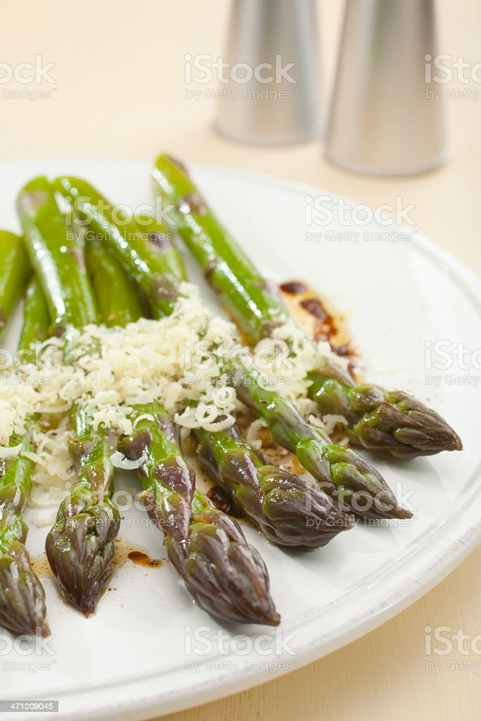 Asparagus with Parmesan and Balsamic Vinaigrette royalty-free stock photo
