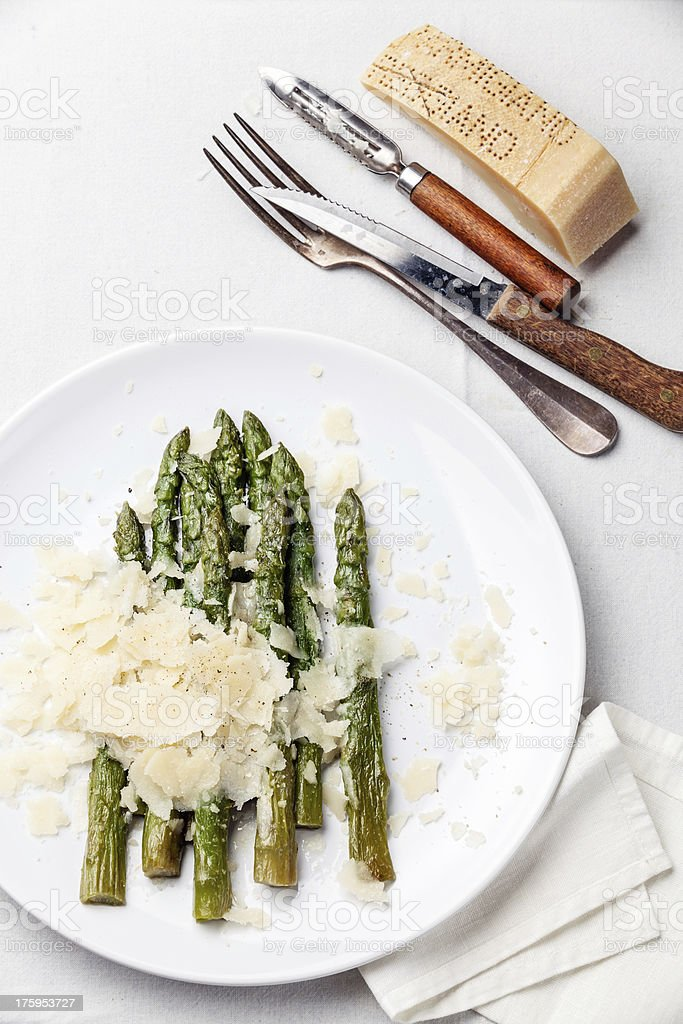 Asparagus with Parmesan royalty-free stock photo