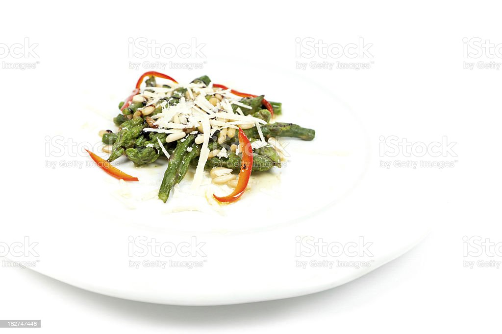 Asparagus with Parmigiano Reggiano and Pine Nut royalty-free stock photo