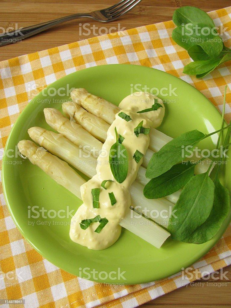 Asparagus with sorrel hollandaise sauce stock photo