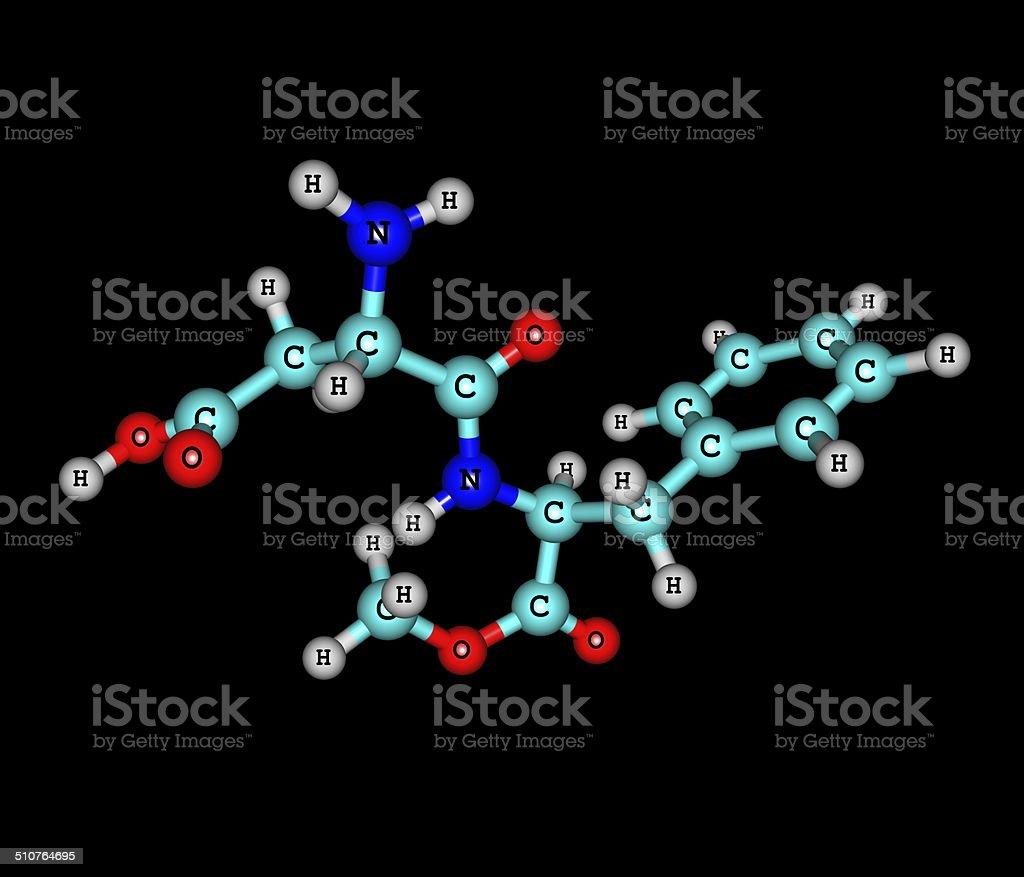 Aspartame molecule isolated on black stock photo