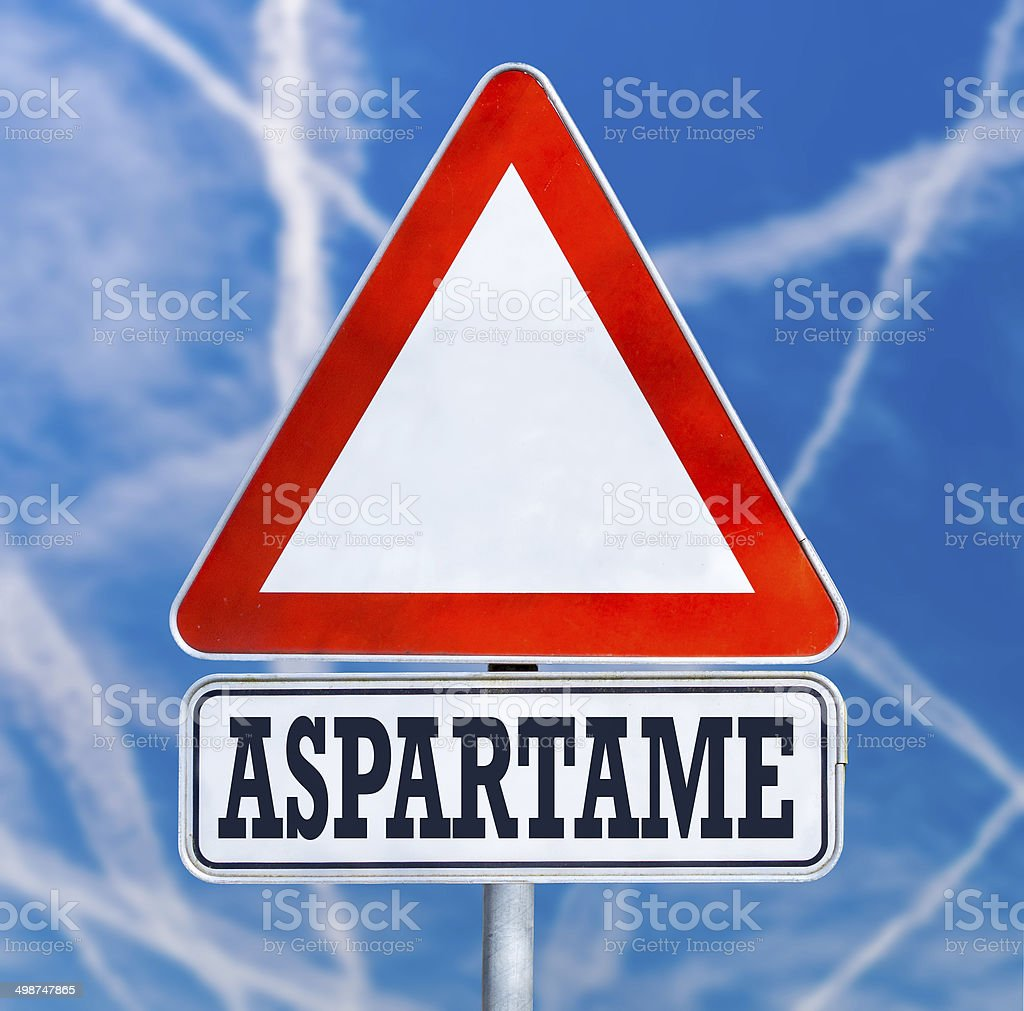 Aspartame traffic warning sign stock photo