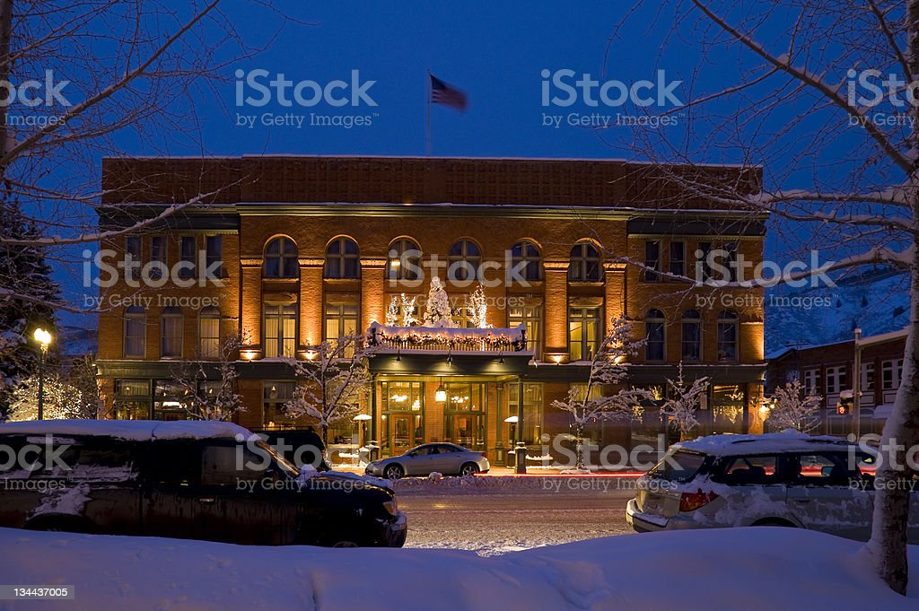 Aspen Colorado Downtown Scene after Fresh Snow in Winter stock photo
