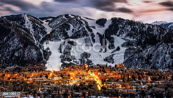 Aspen skyline from an overlook in the winter
