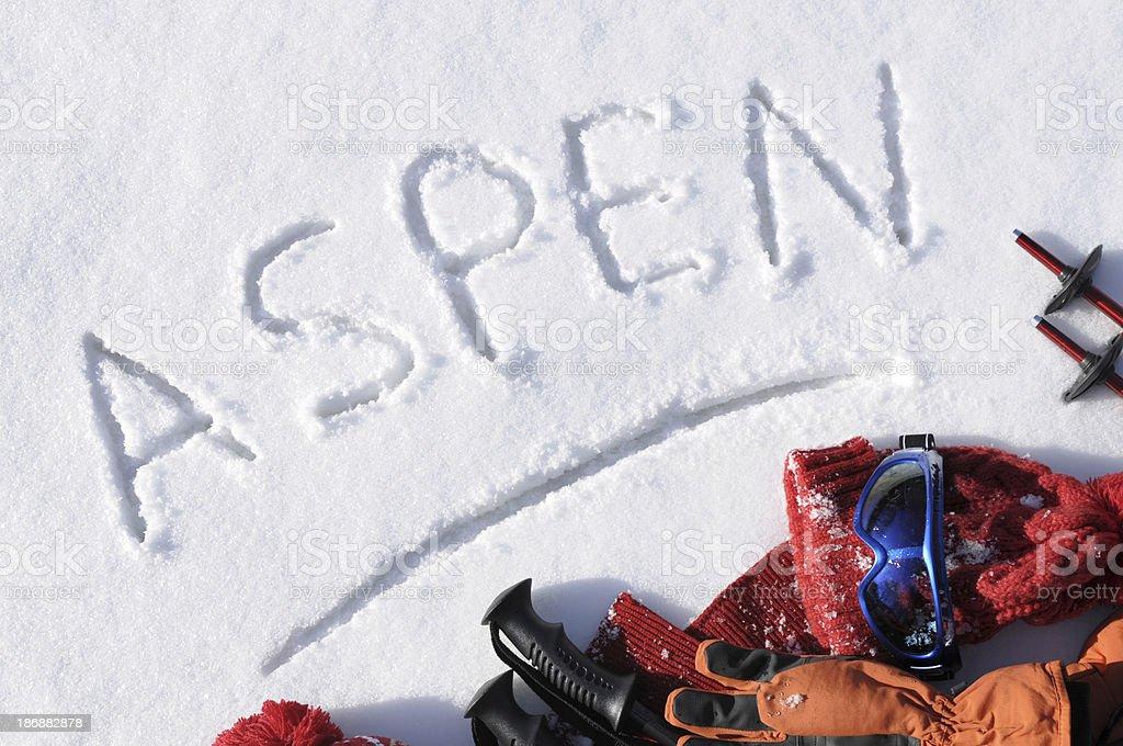 Aspen ski background stock photo