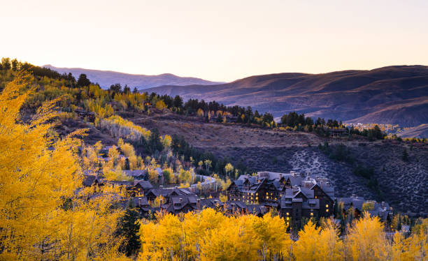 Aspen Trees and Blue Skies Mountain Views Aspen Trees and Blue Skies Mountain Views - Sunny blue sky day and golden aspens. Bachelor Gulch at dusk. Beaver Creek, Colorado USA. beaver creek colorado stock pictures, royalty-free photos & images