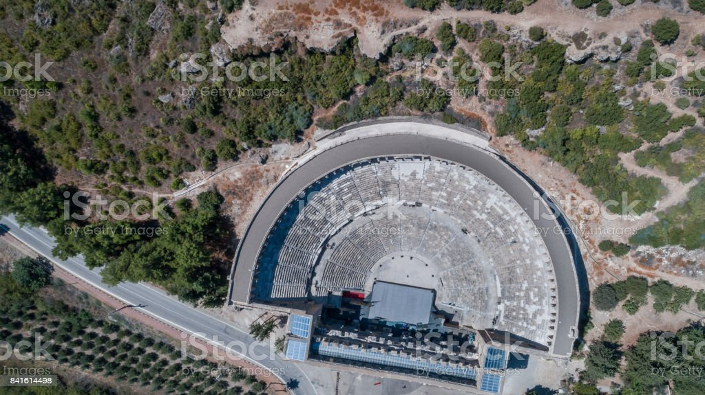 Aspendos Ancient roman theater aerial view photography stock photo