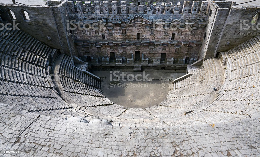 Aspendos Ancient Theater in Miniature stok fotoğrafı
