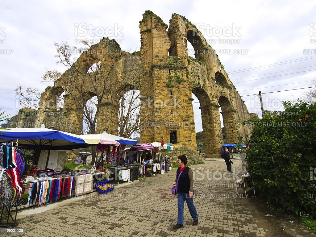 Aspendos Aqueduct stock photo