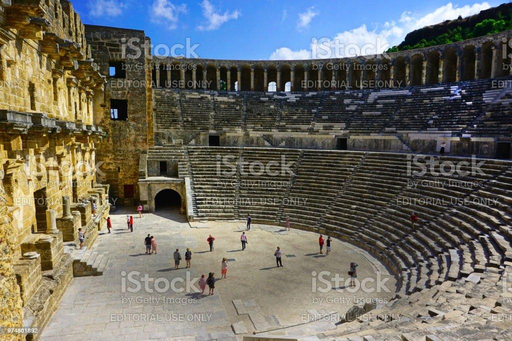 Aspendos Tiyatrosu, Antalya, Türkiye stok fotoğrafı