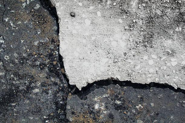 Asphalt crack black and white. stock photo