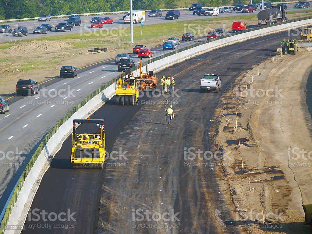 Asphalt crew stock photo