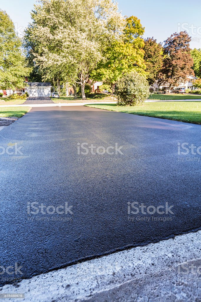 Asphalt Driveway New Blacktop stock photo