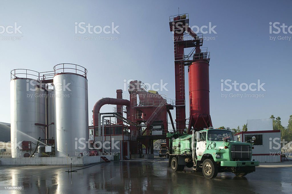 asphalt factory front view on sunny day royalty-free stock photo