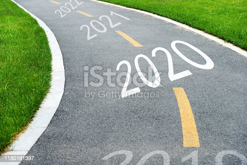 1150191246 istock photo Asphalt footpath with number 2020, 2021, 2022 1150191397