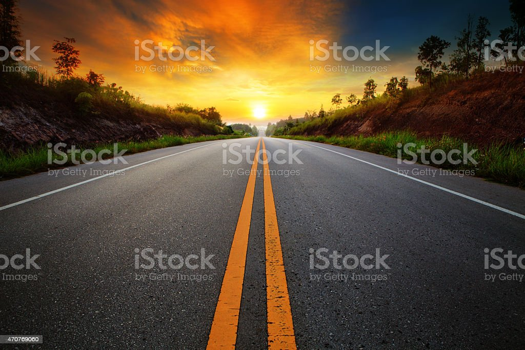 asphalt highways road in rural scene stock photo