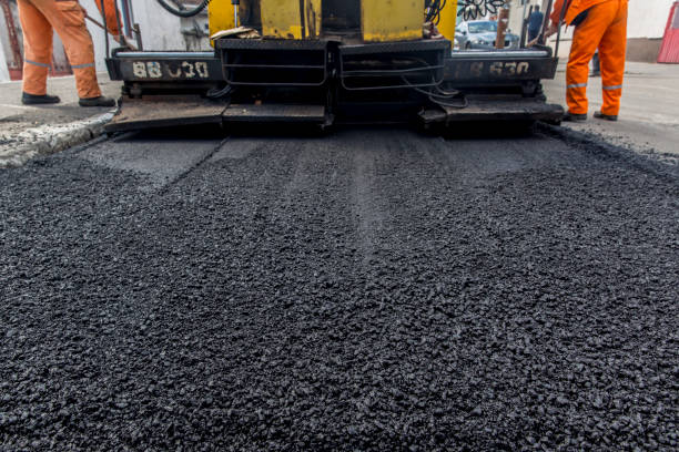 Asphalt laying a new layer stock photo
