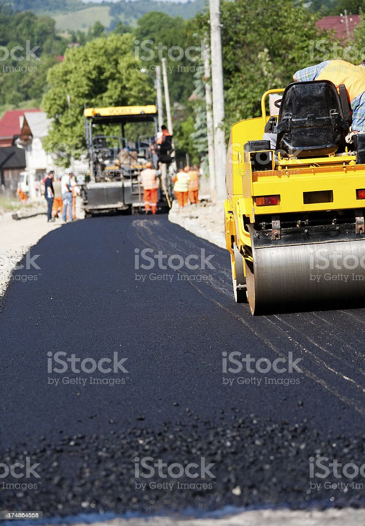 Construction site.Fresh Layer Of Asphalt