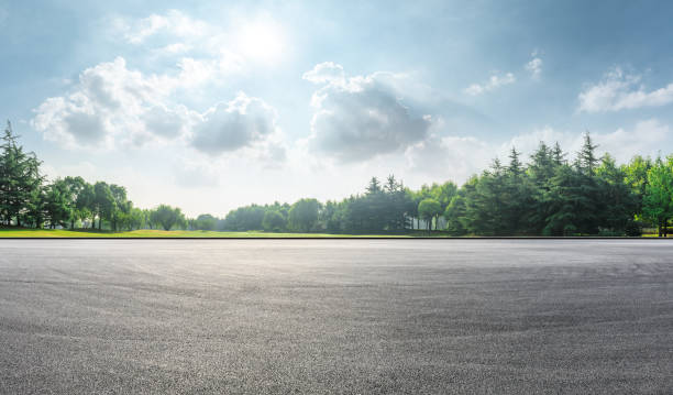 Asphalt race track and green woods nature landscape stock photo