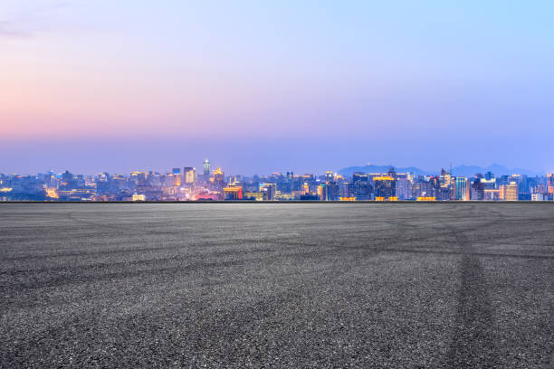 Asphalt race track ground and beautiful city scenery in Hangzhou stock photo