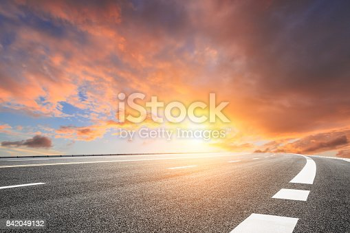 istock Asphalt road and beautiful sky landscape at sunset 842049132