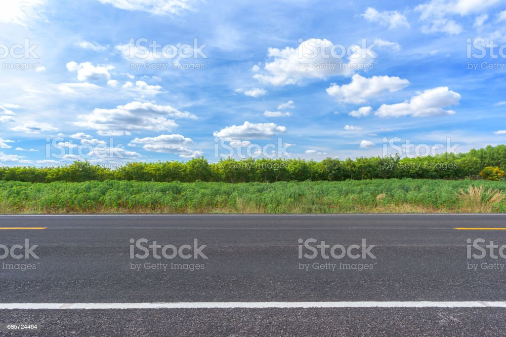 Asphalt road and countryside views stock photo