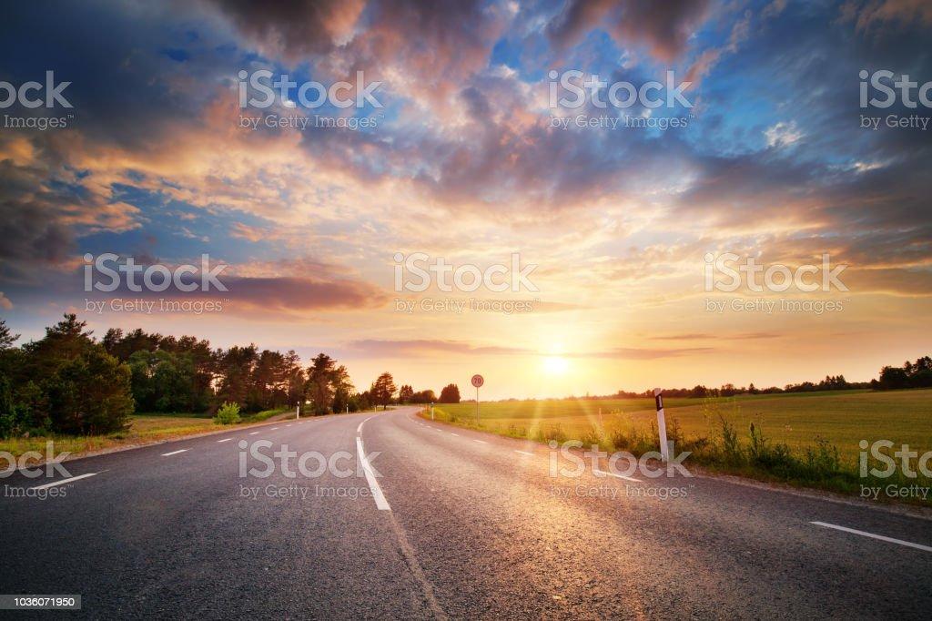 Asphalt road and dividing lines at sunset - Foto stock royalty-free di Albero