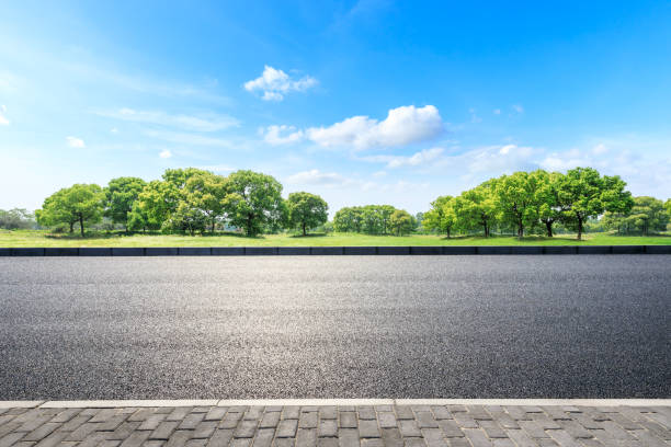 Cтоковое фото Asphalt road and green forest landscape in summer season