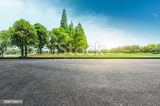 istock Asphalt road and green forest landscape 1008105074