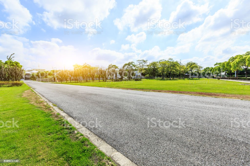 Asphalt road and green woods in the suburbs of the city