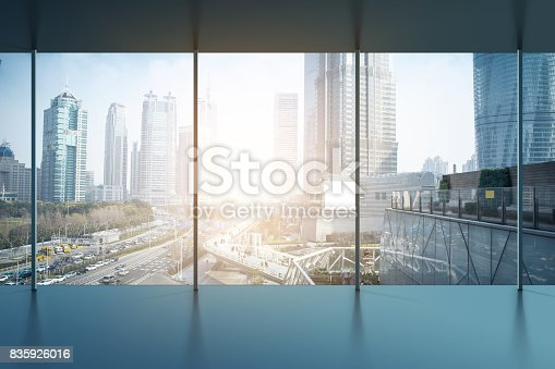 istock Asphalt road and modern city 835926016