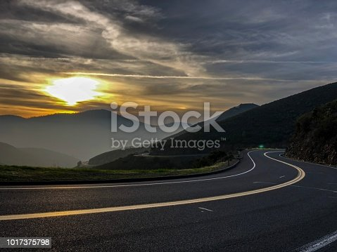 Sunset, California, Road, Mountain, Street