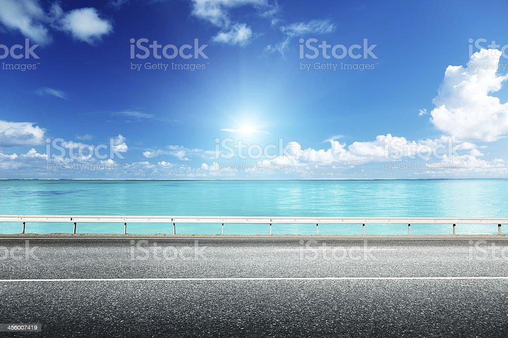 asphalt road and sea stock photo