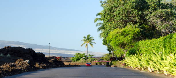 Asphalt road from a resort in Waikoloa  with read car, Big Island stock photo