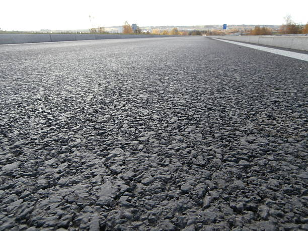 Asphalt road from bug perspective stock photo