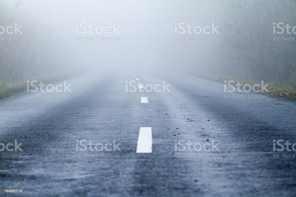 Asphalt road in an autumn fog royalty-free stock photo