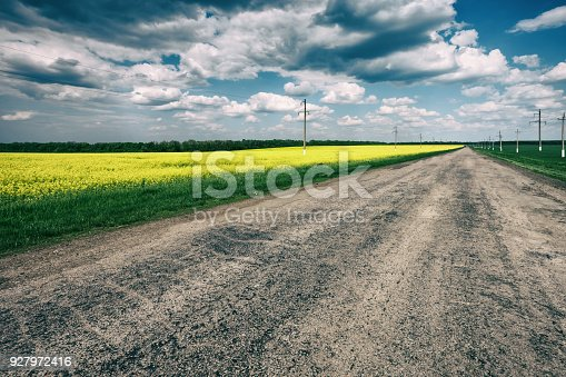1155573645istockphoto Asphalt road in field with yellow flowers 927972416