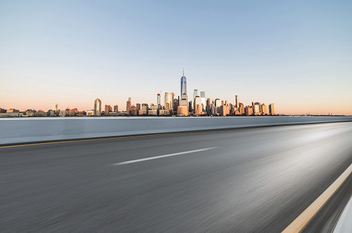 istock Asphalt Road in front of City Manhattan 902958196
