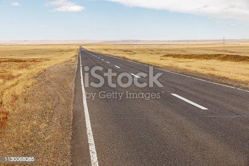 asphalt road in the mongolian steppe, Mongolia, Gobi Desert