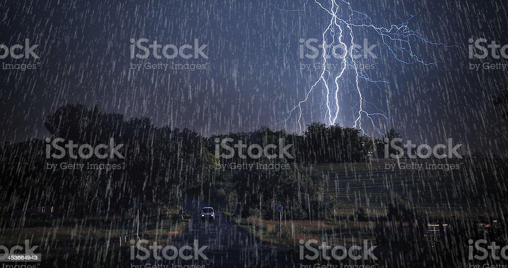 Asphalt road in storm royalty-free stock photo
