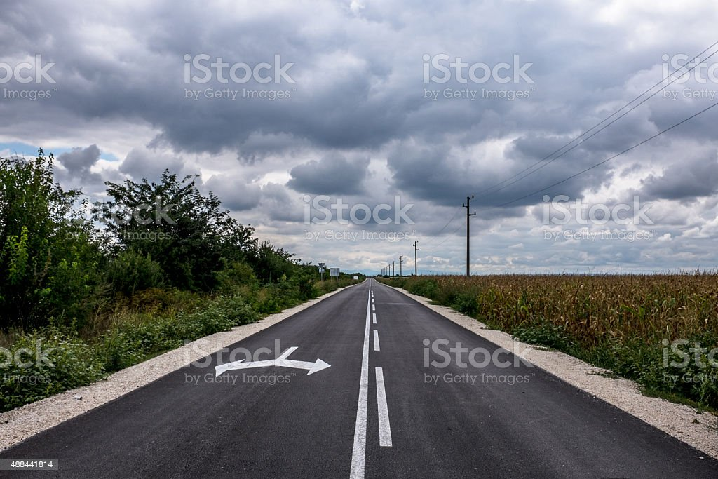 Asphalt road in the countryside stock photo